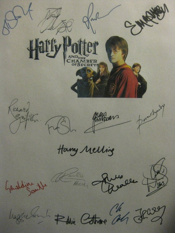 Harry Potter and the Chamber of Secrets Signed Film Movie Script x17 Autographs Daniel Radcliffe Rupert Grint Emma Watson Maggie Smith