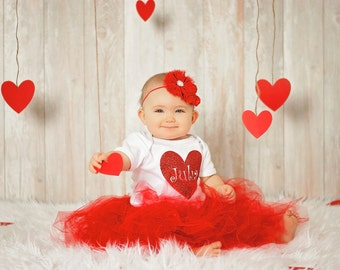 Heart Name Valentines Onesie Red Glitter Heart Personalized Valentine's Onesie
