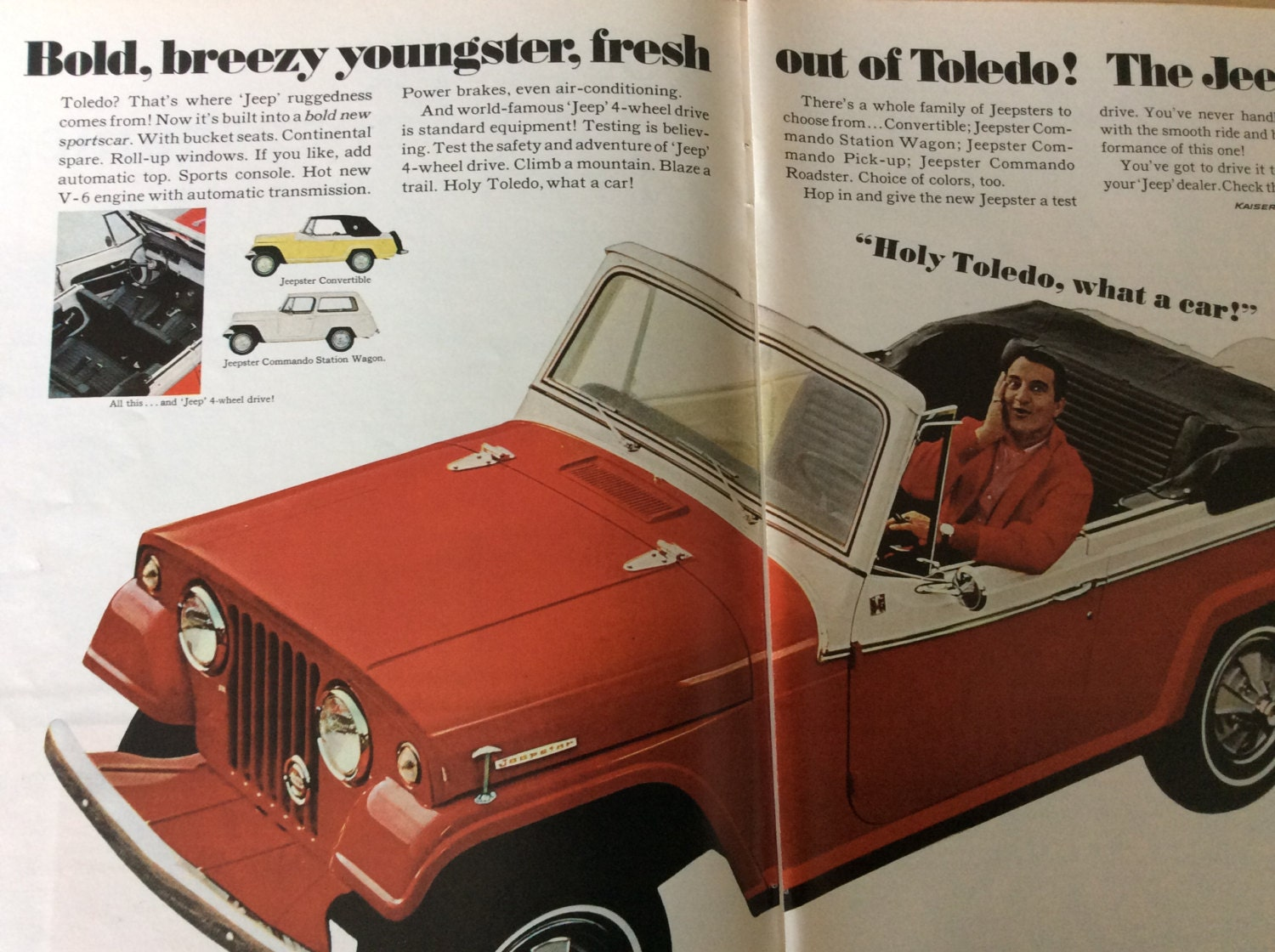 1960s Kaiser Jeep Corp. the Jeepster with Danny Thomas behind