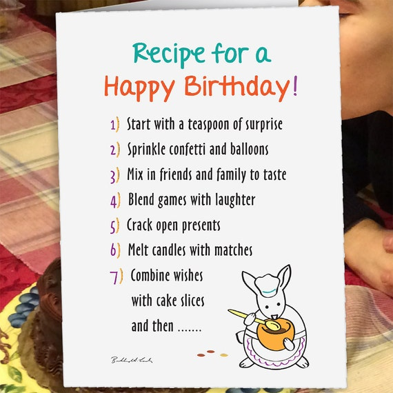 Recipe For A Happy Birthday Birthday Card Rabbit Card