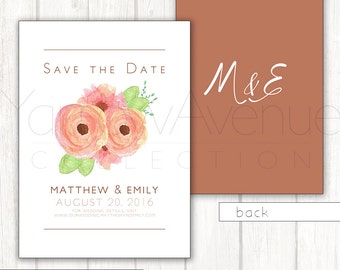 Peach Floral, Save the Date card, Printable digital