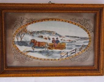 Small art, art print, sleigh print, winter print, folk art, winter scene, horse art, sleigh ride print