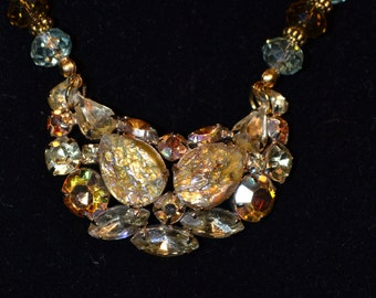 Vintage yellow tone beaded necklace  (#13)