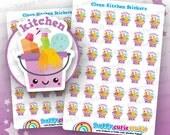 36 Cute Clean Kitchen/Chores Planner Stickers, Filofax, Erin Condren, Happy Planner,  Kawaii, Cute Sticker, UK