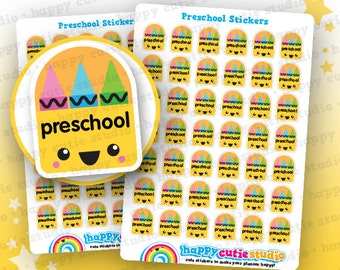 42 Cute Preschool Planner Stickers, Filofax, Erin Condren, Happy Planner, Kawaii, Cute Sticker, UK