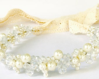 Headband Ribbon, Bridal Headband, Crystal and Pearl Headband, Wedding Headpiece, Miss Popular
