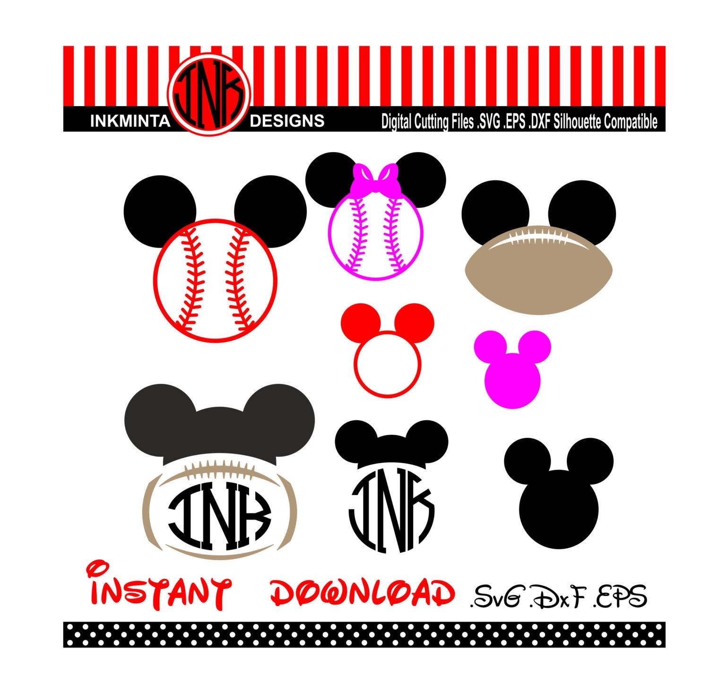 Mickey Mouse Baseball Rahmen Monogramm Minnie Maus Bogen