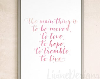 Auguste Rodin Quote Printable Instant Download Wall Decor Pink Watercolor