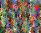 "Handmade Marbled Paper — ""Rainbow Leaves"""