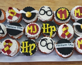 12 Harry Potter inspired fondant cupcake toppers
