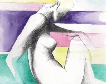 Pensive Rainbow Woman