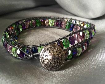 Beaded wrap bracelet green/purple