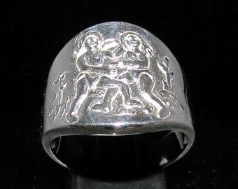 Sterling silver zodiac ring Gemini star sign May - June