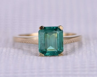 1.5ct Natural Emerald Engagement ring,14k Yellow gold,Green Gem stone,Solitaire Bridal Ring,wedding ring,Personalized for her/him,Custom