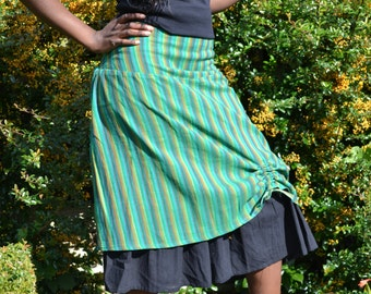 Hand Loom Cotton Skirt,Unique Skirt,Cotton Skirt,Hand loom South Indian Cotton,Universal Skirt,Green Stripes,Black,Everyday  Skirt,Romantic,