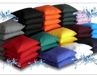 8 all weather canvas cornhole bags  - plastic pellet filled - weatherproof - choose two colors from 18 color choices