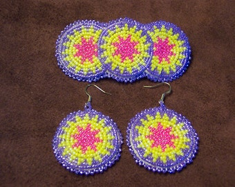 Lakota beaded barrette and earring set
