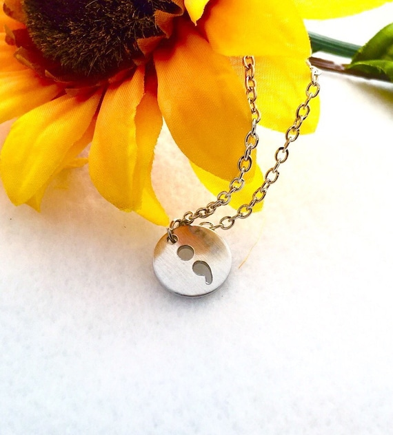 Semicolon Charm Necklace, Semi Colon Project, Semi-Colon Charms, Semicolon Project Jewelry, SemiColon Charms, Suicide Prevention Jewelry