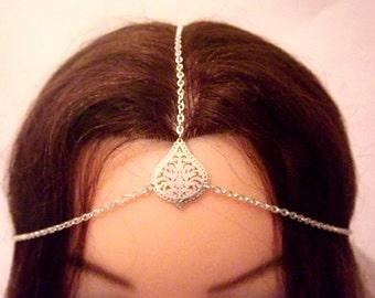 Silver Head Chain With Filgree Drop Charm