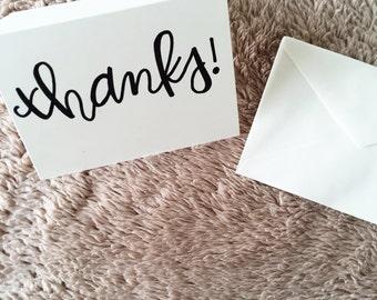 "handwritten calligraphy ""thanks!"" card"