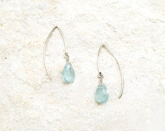 Aquamarine Hook Earrings, 925 Sterling Silver