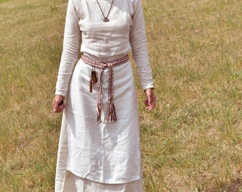 Linen dress with apron