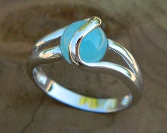 Interchangeable ring with 8mm aqua stone