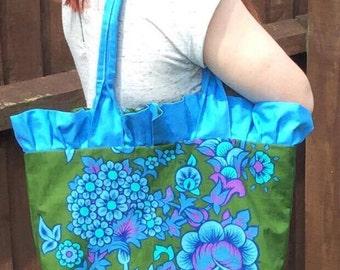 SALE - Frilled green and blue shoulder tote bag