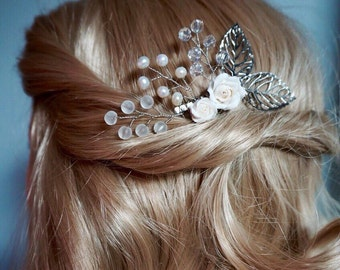 Wedding Comb, Roses pearl and Crystal, Bridal Hair Accessories, Rhinestone Comb, Bridal Headpieces, Wedding Comb, Bridal hair Comb