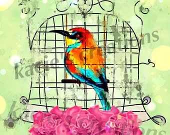 Art Printable Digital Wall Art Bird in a Cage 2