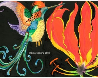 Hummingbird - Whimsical Art, Giclee Print, Acrylic Painting Print, Wall Art, Wall Decor