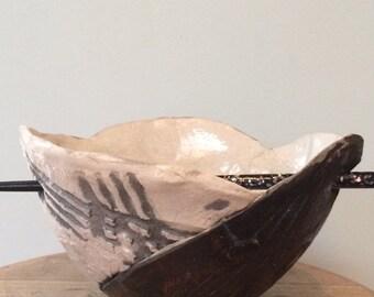 vintage, unique Raku pottery thai bowl, nice size, natural colours, earth colours