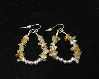 Vintage Beaded Pierced Earings, Natural Stone Beads with Silvertone