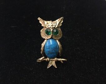 Vintage Owl Brooch, Green Gem Eyes, Turquise Look Belly, Goldtone