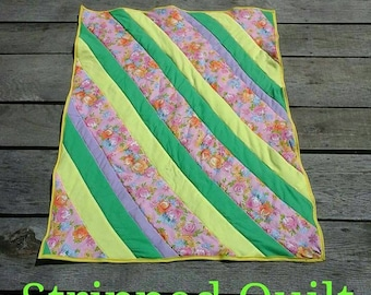 Floral, Violet, Green and Yellow Baby Blanket