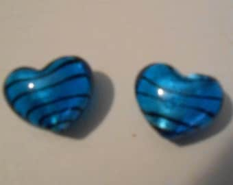 Blue Striped Lampwork Glass Hearts Set of 2