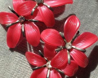Vintage Pink Salmon & Rhinestone Flower Clip Earrings
