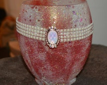 red frosted, pearl w/ opal beads candle holder