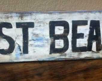 East Beach Hand Painted  Wooden Sign