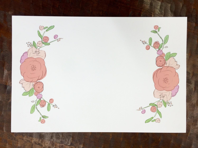 floral watercolor paper placemats