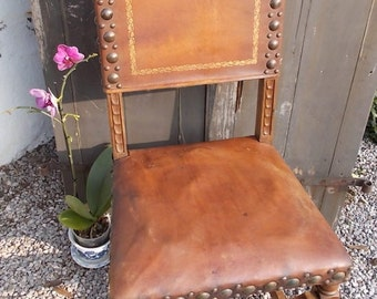 hall chair, vintage leather chair,
