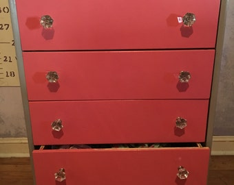 Gray and Pink Chest of Drawers with Crystal Pull Knobs