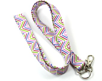 CHEVRON Fabric lanyard, Fabric Badge Holder, Purple Chevron Fabric Lanyard