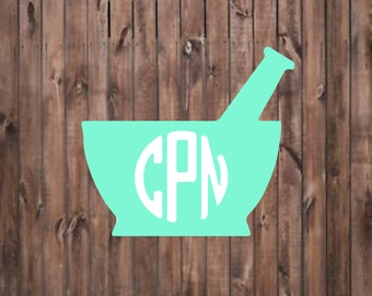 Pharmacy Mortar and Pestle monogram decal