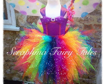 Rainbow Tutu Dress. Lined 6 layers Glitter Rainbow Fairy Party Dress with Matching Wings. Handmade by Seraphina Fairy Tales