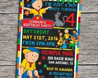 "Caillou Birthday Party Invitation - Digital Printable Personalized Caillou 5""x7"" Invite - Caillou Birthday - Caillou Invitation - Caillou"