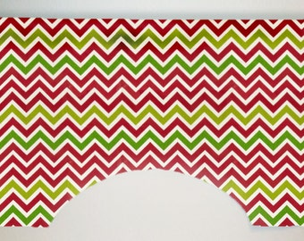 Premier Prints Zig Zag Chevron Stripe Custom Valance Curtain, Lipstick and Chartreuse, Lined