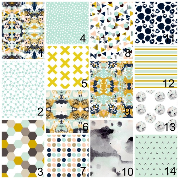 Pink Mint And Gold Nursery: Crib Bedding Navy Pink Mint Gold Abstract Watercolor Polka