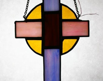 Celtic Stained Glass Cross 6959