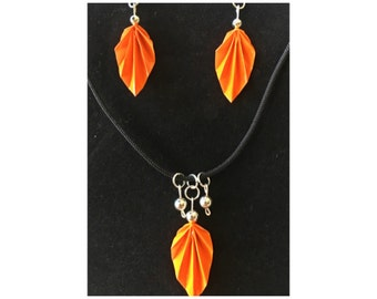 Orange Origami Leaf Earrings and Necklace Set